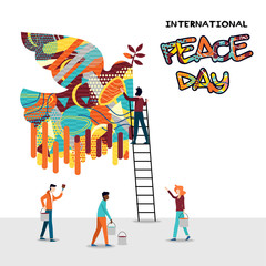 World Peace Day card of diverse people team work