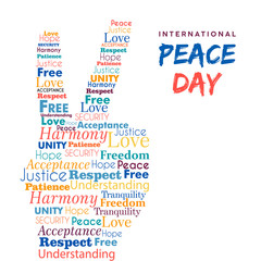World Peace Day design of hand sign for freedom