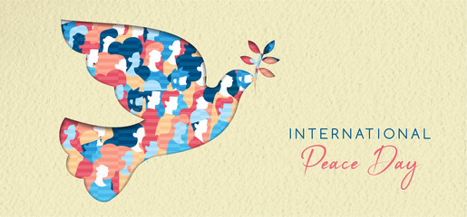 World Peace day card for diverse people unity