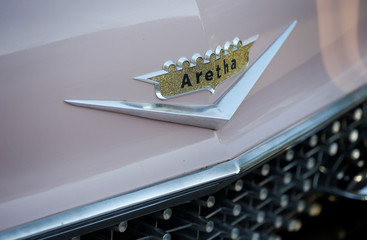 A Cadillac with Aretha's name emblazoned on the front is seen parked among dozens of other Cadillacs during the funeral service for Aretha Franklin at the Greater Grace Temple in Detroit, Michigan