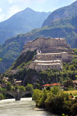 Fort Bard, Valle d'Aosta, Italy - August 21, 2018: Historic military construction defense Fort Bard. Medieval fortress in Italian Alps.
