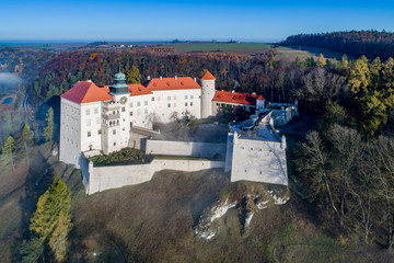 Fotobehang Kasteel Historic castle Pieskowa Skala near Krakow in Poland in morning fog. Aerial view in fall.