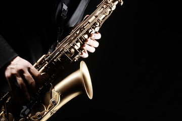 Printed kitchen splashbacks Music Saxophone player. Saxophonist playing jazz music instrument