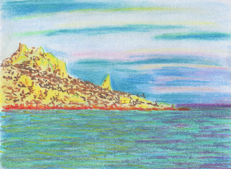 Calm seascape. Rocky cape with forest. Smooth sea and light clouds. Drawing pastel on paper with a canvas texture.