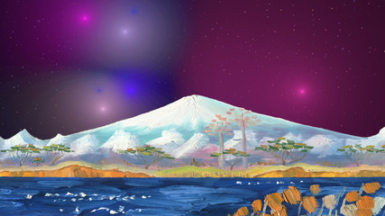 The volcano of Fujiyama, Japan, on the background of a nightly fantastic cosmic sky with galaxies and stars. Lake with trees on the shore on the foreground.Oil painting and digital fractal graphics.