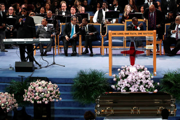 Stevie Wonder performs at the funeral service for the late singer Aretha Franklin at the Greater Grace Temple in Detroit
