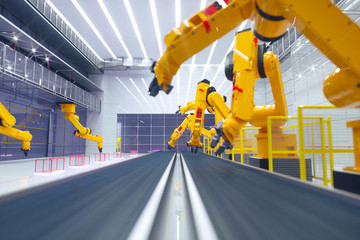 smart factory, modern automated production plant with robot arms - industry 2.0