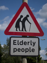 British Elderly People crossing street sign