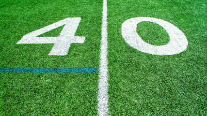 numbers marking the 40 yard line on an American football field