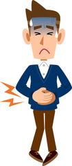 腹痛のため腹部を押さえる男性
