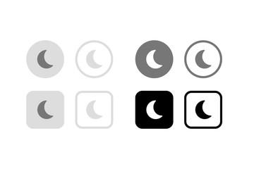 夜間モード(ナイトモード/スリープモード)ボタン。グラフィック素材、UIデザイン素材