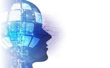 Abstract Vector silhouette of virtual human 3d illustration background, represent artificial intelligence technology.