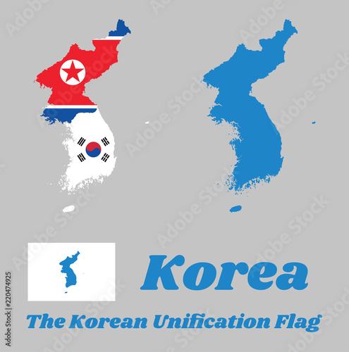 Map outline of North Korea, South Korea and Korean Peninsula and ...