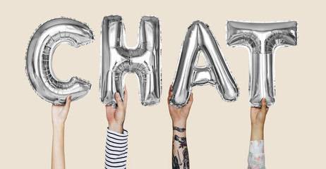 Hands showing chat balloons word