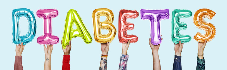 Hands showing diabates balloons word