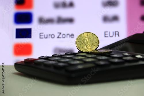 Twenty France Euro Cent On Obverse With Black Calculator White Floor Digital Board Of