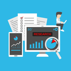 Business startup company research observation and development with statistic and resource people illustration