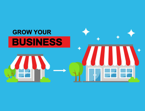 Growing business or store from small to bigger as success sign illustration