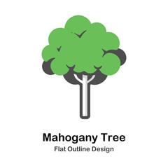 Mahogany tree Outline Flat illustration