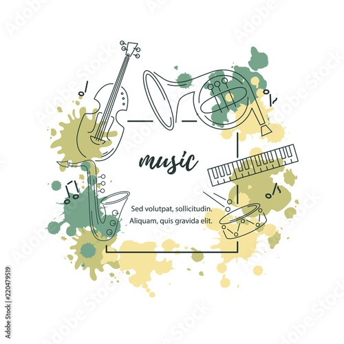 Template for music festival, jazz party, invitation