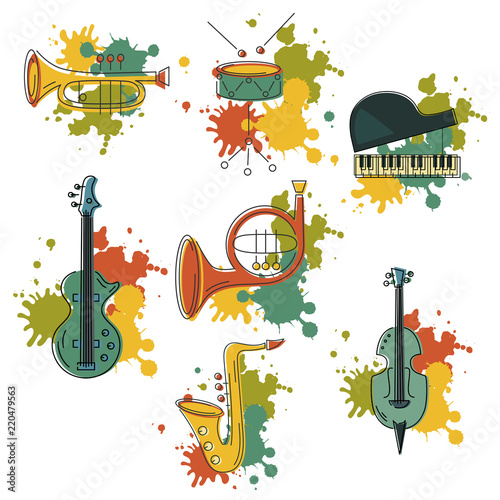 Vector set with music instrument: guitar, piano, saxophone