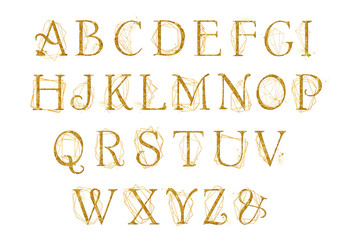 Golden alphabet with gold geometric shape crystal. Unique collection for wedding invites decoration other concept ideas.