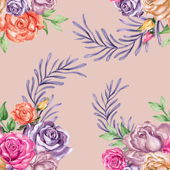 Watercolor gouache beautiful vintage rose with leaves seamless pattern