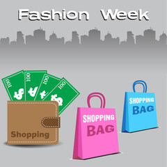 Colorful illustration with two shopping bags and a wallet full of money. Fashion theme
