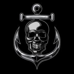 nautical skull and anchor vector illustration on dark background