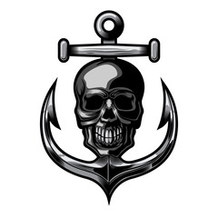 nautical skull and anchor vector illustration on white background