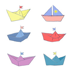 Set of colored paper boats