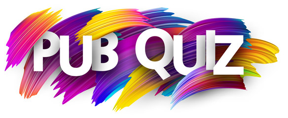 Pub quiz banner with colorful brush strokes.