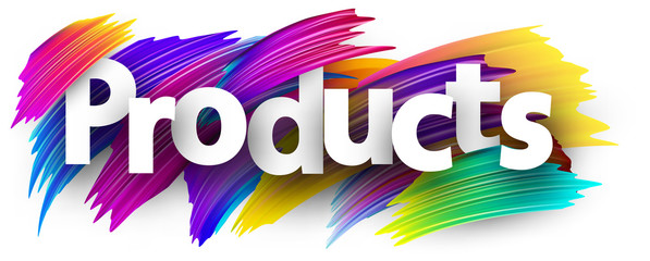 Products label with colorful brush strokes.