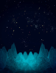 Low poly mountains landscape. Polygonal shapes peaks. 3D rendering. Deep space filled with stars, nebula and galaxy.