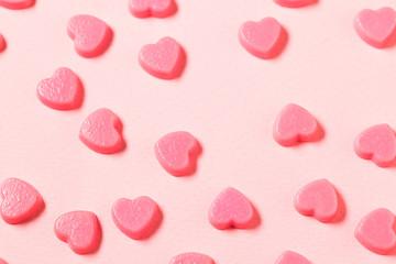 Pink heart shape chocolate candy