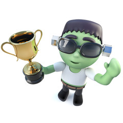 3d Funny cartoon Halloween frankenstein monster holding a gold cup trophy award prize