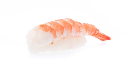 sushi shrimp and rice isolated on a white background