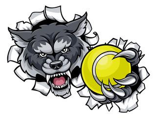 Wolf Tennis Mascot Breaking Background