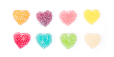 Colorful heart shape jellys isolated on white background