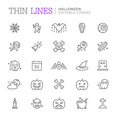 Collection of halloween related line icons. Editable stroke