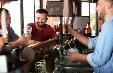 Friends drinking beer at counter in bar