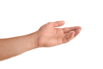 Abstract young man's hand on white background