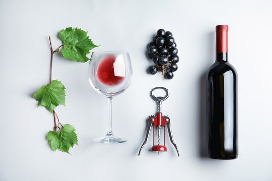Composition with fresh ripe juicy grapes on light background, top view