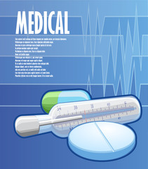 Illustrated medical poster with tablets and thermometer