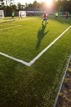 Soccer training on a lovely fotball pitch
