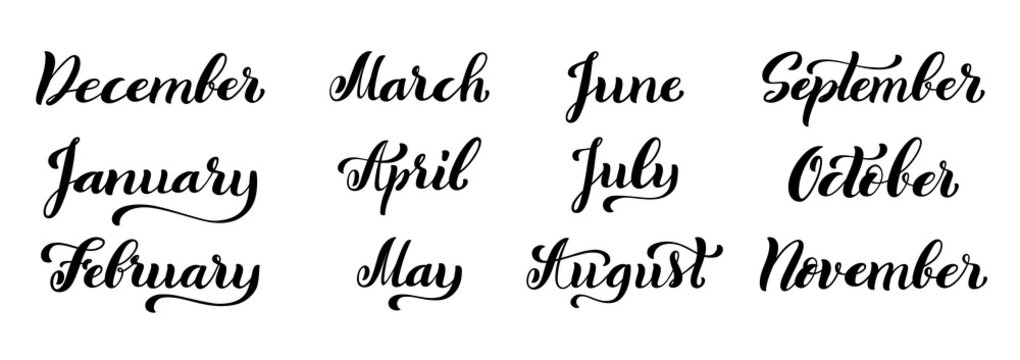 Calligraphic set of months of the year. December, January, February, March, April, May, June, July, August, September, October, November