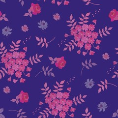 Seamless natural autumn pattern. Flowers and leaves, isolated on dark blue background.