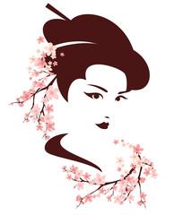 beautiful japanese geisha among blooming cherry tree branches - spring season vector portrait