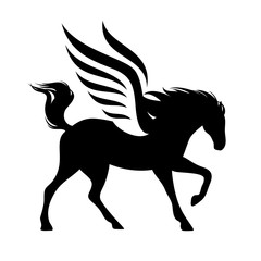 running winged horse silhouette - black and white vector pegasus design