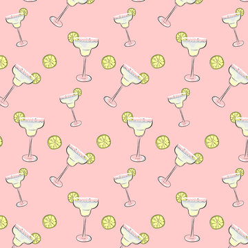 Friday mood cocktail background. Margarita drinks Pattern. Weekend, holiday dcoration, wrap, cloth print.